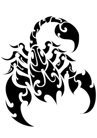 sting: Scorpion Tattoo  on a Isolated Background  Abstract Vector Illustration of Scorpion