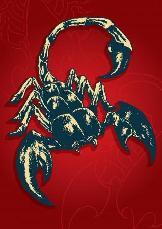 megrémült: Absztrakt vektoros illusztráció Scorpion Scorpion Zodiac