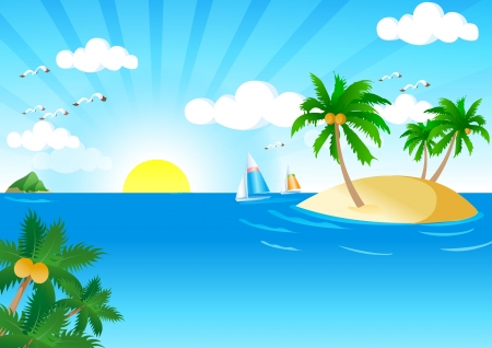 Sunny and Sea Vector  Vector Illustration of Summer Tropical Beach  Tropical Palm With Sea Wave on Sunny Background  Vector