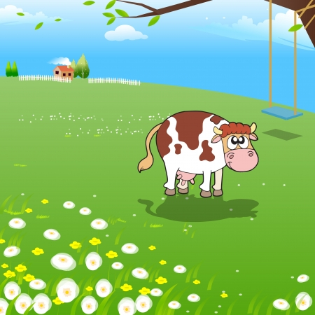 Illustration of Cow on a Farm  Illustration of Funny Cow at Farm  Farm Illustration  Funny Cartoon and Vector Scene  Vector