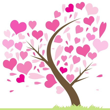 Beautiful abstract love tree with hearts  Heart tree, greeting card illustration  Valentine tree, love, leaf from hearts  Vector