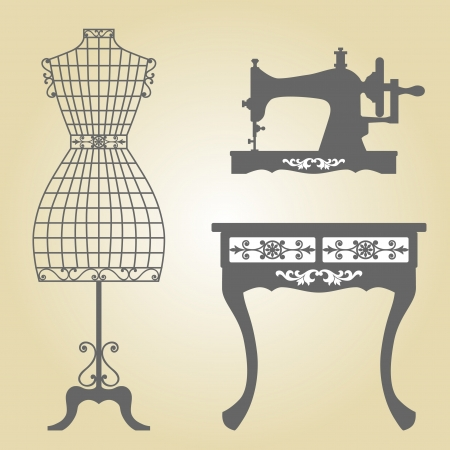 maquina de coser: Maniquí Vintage y máquina de coser Vintage Vintage Wooden Mannequin Mannequin Hierro forjado en el marco floral vintage Sillhouette Máquina de coser Vectores