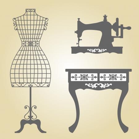 mannequin: Mannequin Vintage e Macchina da cucire d'epoca in legno Mannequin Vintage battuto Mannequin ferro in cornice floreale Vintage Sewing Machine Sillhouette
