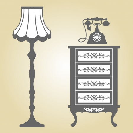 retro styled: Antique Furniture  Vintage Furniture  Vector Illustration of Original Antique Furniture Collection  Illustration