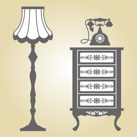 western style room: Antique Furniture  Vintage Furniture  Vector Illustration of Original Antique Furniture Collection  Illustration
