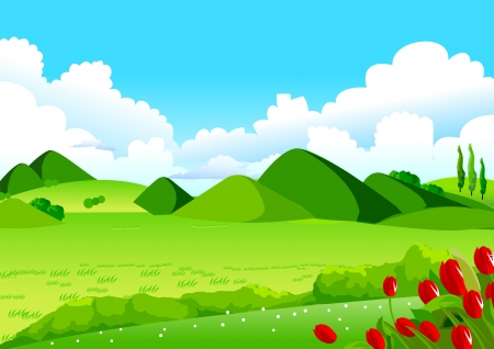 This illustration is a common natural landscape  Rolling landscape, Blue Sky, Green Fields and Distant Hills for Your Creative Needs  Vector