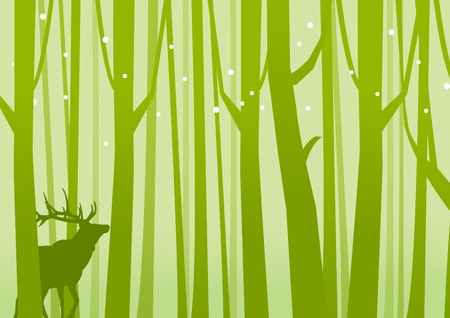 ramble: Deer in Forest Green  Deer on a background of Forest Green  Vector illustration