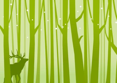 Herten in Forest Green Herten op een achtergrond van Forest Green Vector illustratie Stock Illustratie