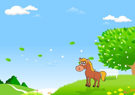 Horses in the Field  Art for Designer  Green Fields and Distant Hills for Your Creative Needs  Vector