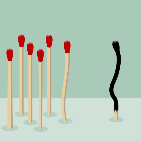 risky: Being different,taking risky,bold move for success in life - Concept vector graphic  The illustration shows Match burn together in one direction while red match taking a risky different way  Vector burnt match and a whole red match isolated