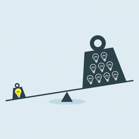 balance scale: Concept vector graphic of Unbalance scale between Idea and Ignorance  Illustration