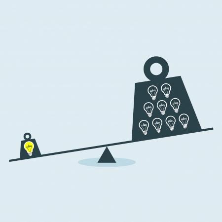 balanza en equilibrio: Concepto de gráficos vectoriales de escala de desequilibrio entre la idea y la ignorancia