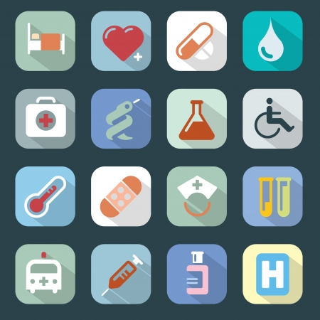 Medicine web colour icons set  Website Iconset Medicine  Easy to edit, scale and colorize  Vector