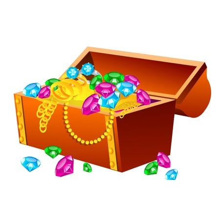 brown box: Illustrazione vettoriale di scrigno su sfondo bianco Illustrazione di una cassa del tesoro tradizionale con monete d'oro, gioielli e pietre preziose Vettoriali