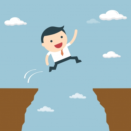 Businessman jumping over the cliff to goal  Businessman jump through the gap Vector