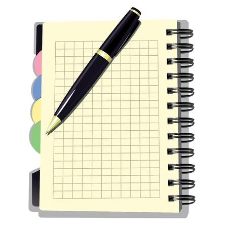 Benoeming Boek met Pen Vector illustratie van Benoeming Boek met een pen Onderwijs of zakelijke achtergrond Afspraak Book met pen op wit wordt geïsoleerd