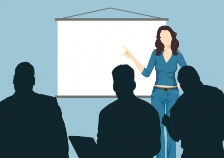 company board: Illustration of working woman with presentation board  Working woman results through the board at the meeting  Illustration