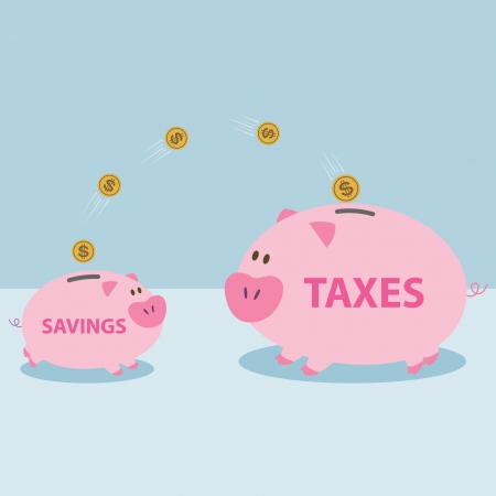 Money from piggy bank to be allowed to pay taxes  Savings were used to pay taxes  Stock Vector - 22612359