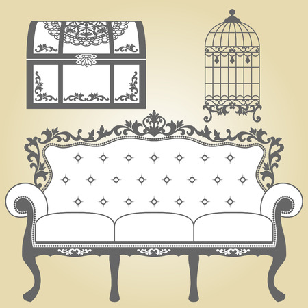 Vintage Sofa Vintage Bird Cage and Vintage Trunk  Illustration sofa for vintage interior  Illustration sofa for vintage interior  Vintage bird cage designs in silhouette  Vintage Trunk designs