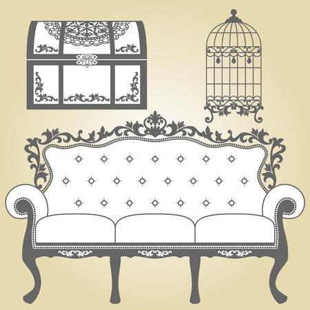 Vintage Sofa Vintage vogelkooi en Vintage Trunk Illustratie bank voor vintage interieur Illustratie bank voor vintage interieur vintage vogelkooi ontwerpen in silhouet Vintage Trunk ontwerpen