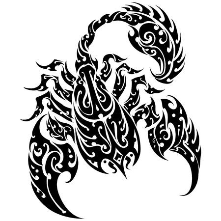 scorpion: Tatouage de scorpion sur un fond isol� R�sum� illustration vectorielle de Scorpion Illustration