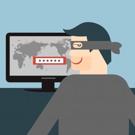 illustratie van een dief stelen van gevoelige gegevens zoals wachtwoorden van een PC voor anti phishing en internet virussen campagnes