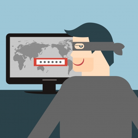 computer viruses: illustration of a thief stealing sensitive data as passwords from a personal computer useful for anti phishing and internet viruses campaigns