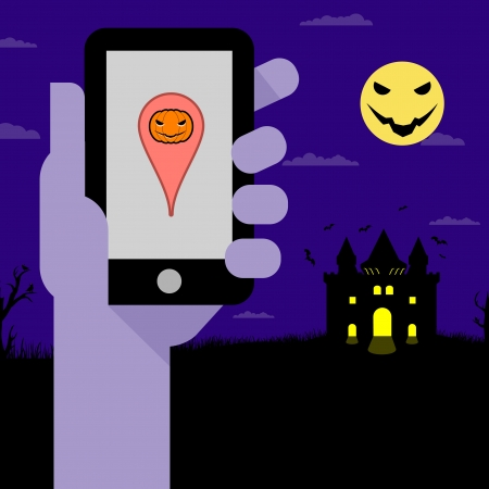 Halloween coordinates the work of smart phones   Vector