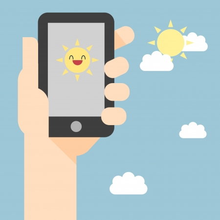 man on cell phone:  Weather reports via smart phone Illustration