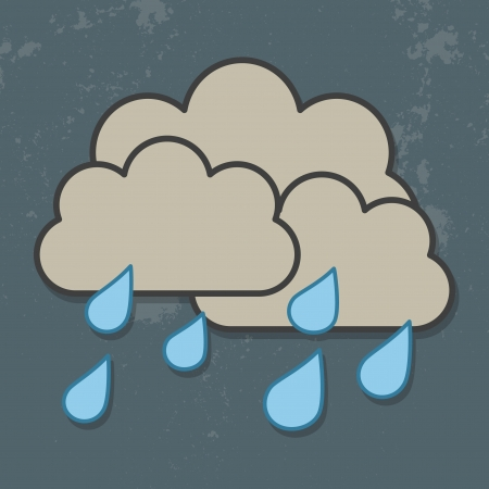 nubes caricatura: Nubes y lluvia aislada en el cielo oscuro