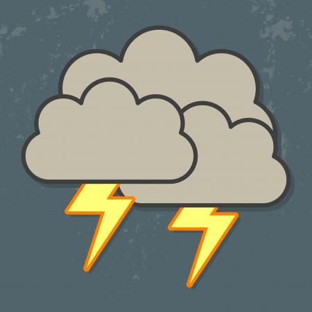 wolk met zware val regen en bliksem in de donkere hemel wolken en bliksem icoon Stock Illustratie