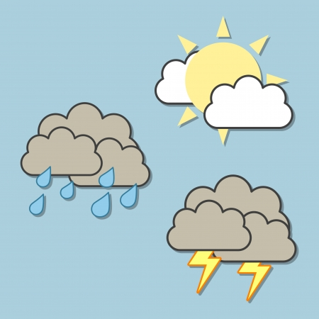 3 colorful weather forecast icons Vector