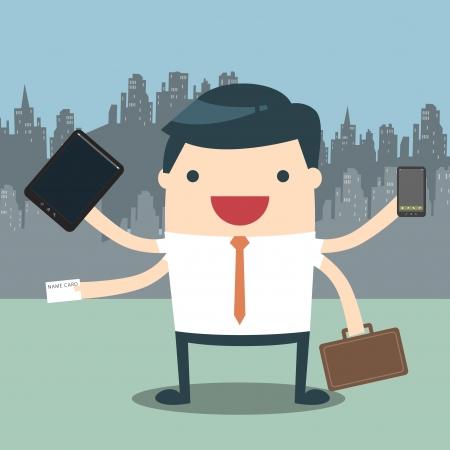 telefono caricatura: Hombre de negocios con la multitarea