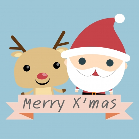red nosed: Santa and Reindeer Christmas  vector christmas illustration of santa claus and red nosed reindeer  Illustration