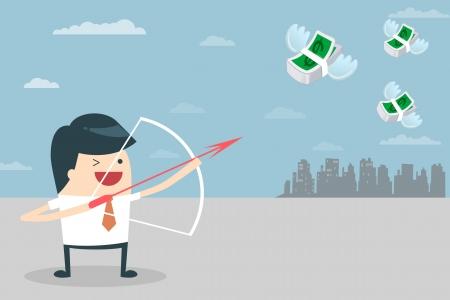 Zakenman Target Vector illustratie van zakenman gericht het doel met zijn pijl en boog Business mensen die streven naar een boog hebben en pijl Het doel is geld Zakenman doel met geld