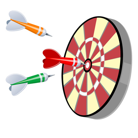 Darts Hitting a Target, Isolated On White Background  Vector Illustration  Colorful darts hitting a target