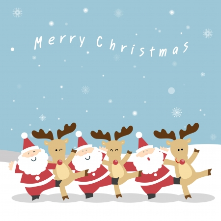 Santa Claus and the reindeer s neck playfully dance to celebrate Christmas  Santa and Reindeer Christmas  vector christmas illustration of santa claus and red nosed reindeer