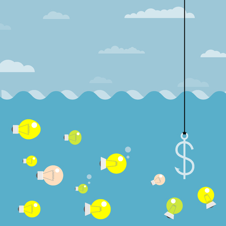 fishhook: Used as bait for a great idea  Fishing hook icon, business concept  Money on the hook  Bill on fishhook, vector   Illustration