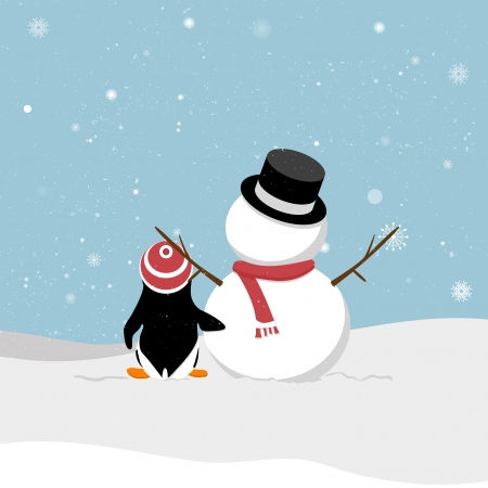 Snowman with penguin viewing snowy  A cartoon snowman and a penguin out in the snow  Penguins clinched waist snowman  Christmas card  Vector