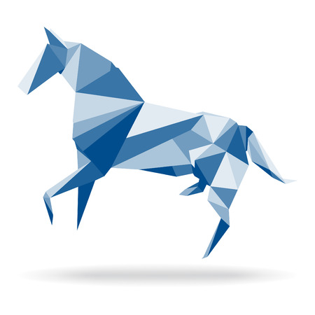 Horse Polygon  Horse abstract polygon vector  Paper horse origami  Illustration of horse in origami style  Horse abstract isolated on a white backgrounds  Horse origami isolated on a white backgrounds  Ilustracja