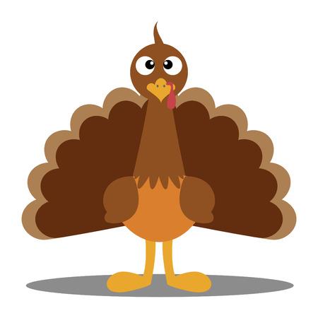かわいい漫画トルコ感謝祭トルコ トルコ エスケープの漫画のマスコット キャラクターの白い背景の上のトルコのイラストの感謝祭トルコ A ベクト