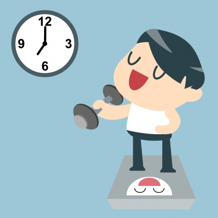 Exercises by lifting a dumbbell  Exercise after work  Vector illustration  Vector