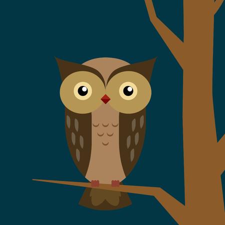 Owl at night  Owl On tree branch  illustration of Cartoon owl sitting on tree branch  Cute Vector Owl  Vector