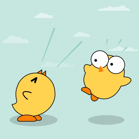 annoyance: Two little yellow chicks  Two chicks annoyance  Happy Easter card with funny chickens  Cute cartoon Yellow Chicks  Vector illustration with simple gradients  All in a single layer  Illustration