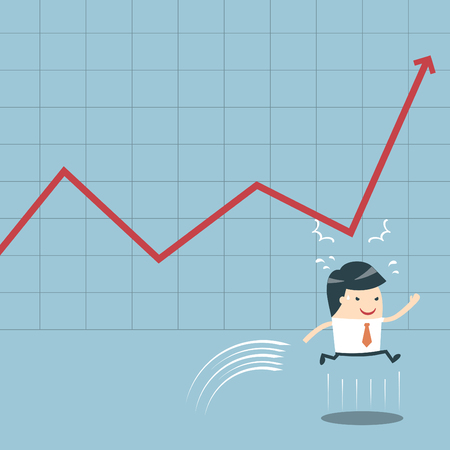 Businessman Jump and Graph  Businessman Run and Graph  Businessman Jump Happy up chart  businessman jumping head pressure resulting graph  Jump tackles the business earnings   Vector