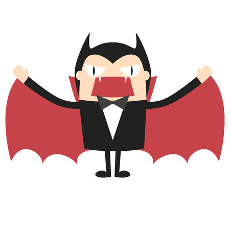 Cartoon vampire  Dracula Cartoon  Count Dracula  Dracula Cartoon on white background  Vector illustration  All in a single layer