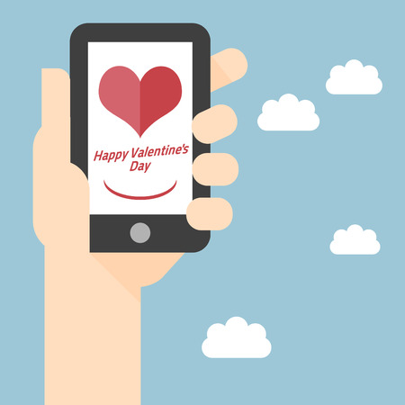Vector afbeelding van een slimme telefoon Gelukkig Valentijnsdag op mobiele telefoon scherm met Happy Valentines Day Stock Illustratie