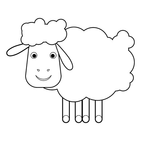 Sheep on a white background vector illustration  Illustration of Cartoon Sheep  Outline illustration for a coloring book  All in a single layer