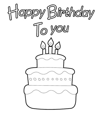 layer cake: Cake Outline illustration for a coloring book  Coloring book various cakes  Cake isolated on white background  Outlined Birthday Cake With Three Candles  All in a single layer  Vector illustration