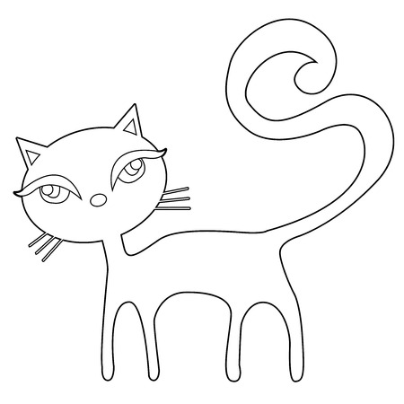 Cat On A White Background Vector Illustration Of Cartoon Outline For Coloring